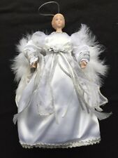 White & Silver Angel Fairy Christmas Tree Top Topper Decoration Vintage Style