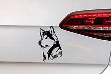 Hunde Aufkleber Husky Sticker mit Wunsch Namen Dog Decal JDM aus Premium Folie