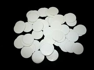 White card round disk coin fossil tray label insert lot of 100 22.5 mm width