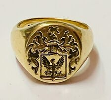 """""""Superb 9ct Yellow Gold Intaglio Seal Ring"""" Heavy 7.7g"""
