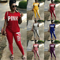 Pink Letter Print Casual Sportswear Two Piece Outfit Sports Suit Yoga Pants Tops