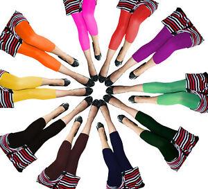 3/4 Leggins Gr. S/M M/L Microfaser Leggings 14 Farben