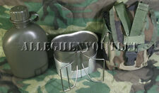 NEW Military CANTEEN CUP & STOVE 1 QUART CANTEEN w/USED 1QT Molle WOODLAND COVER