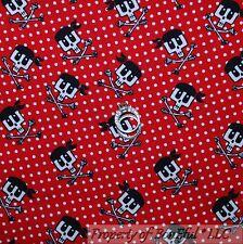 BonEful Fabric FQ Cotton Quilt Red White B&W Dot Skeleton Skull Head Cross Bone