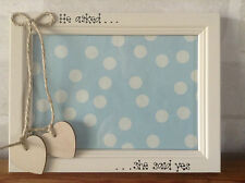 Personalised Wedding Engagement Photo Frame Wooden Cream Hearts Jute 5 x 7 in