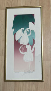 """David Allgood Hand Signed Dated 1982 Embossed Serigraph Print """"Fuchsia"""" Framed"""