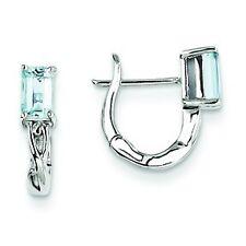 .925 Sterling Silver Polished Prong Set Baguette Aquamarine Hinged Hoop Earrings