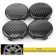 4pcs 68mm Carbon Fiber Black Texture Car Wheel Center Hub Caps ABS Cover No Logo