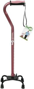 Drive Hugo Adjustable Quad Cane for Right or Left Hand Use, Rose, Small Base
