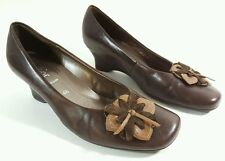 Gabor womens brown leather low wedge heel shoes uk 4.5