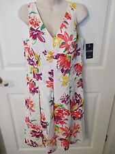 NWT - CHAPS Women's Beautiful Floral Print Pleated Dress - sz 12 - MSRP $100.00