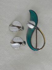 Vintage  AKSEL HOLMSEN Sterling Flower Enamel Pin & D.Andersen earrings NORWAY