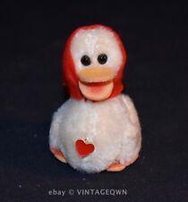 VTG Berg Austria Duck Goose - White Mohair Plush Felt Scarf Hat - 1960s EXC HTF