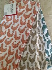 ENVOGUE SET OF 3 KITCHEN TOWELS CHICKENS GREEN RUST BROWN COTTON NWT