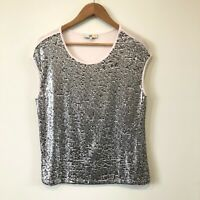 JAG Women's Sequin Blouse Size S Pink Silver Sleeveless Round Neck Ladies Top