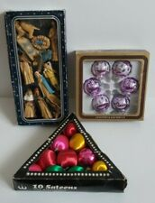 Vintage Christmas Decorations W German Glass Baubles Satin Baubles 12pc Nativity