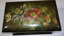 Antique 19thC Victorian Papier-Mâché Tea Caddy Box Floral Hand Painted