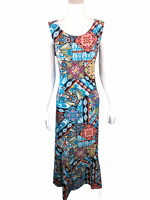 Attitudes by Renee Reg. Como Jersey Printed Godet Maxi Dress Abstract Large Size