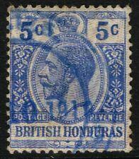 SG 113 BRITISH HONDURAS 1915 - 5c BRIGHT BLUE - USED