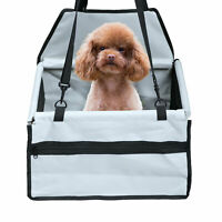 Washable Dog Booster Seat Belt Car Folding Pet Cat Travel Carrier W/ Storage Bag