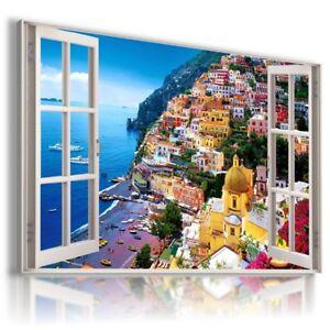 ITALY AMALFI COAST SEA HOLIDAY 3D Window Canvas Wall Art Picture W334 MATAGA