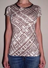 New Womans Small Banana Republic Light Brown Gray Print Satin Trim Tee Top Shirt