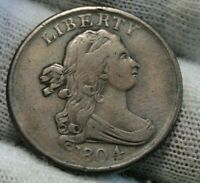 1804 Draped Bust Half Cent, Nice Coin, Free Shipping (9839)