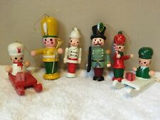 Lot of 6 Vintage WOODEN Soldiers CHRISTMAS TREE ORNAMENTS 2 are on Sleighs