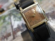 SERVICED SALMON COLORED  DIAL  BENRUS....HANDSOME ART DECO TANQ CASE ..
