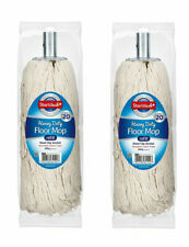 More details for 2 extra large heavy duty floor cotton mop metal socket twine head refill 380gm