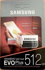 Samsung 512GB EVO Plus UHS-1 Class 10 Micro SDXC with SD Adapter