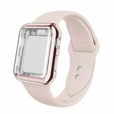 Screen Protector Bumper Case W/ Solid Silicone Wrist Band Loop For Apple Watch