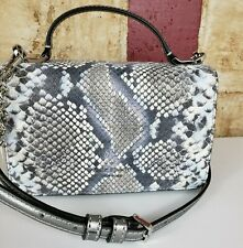 New Kate Spade Top Handle Flap Crossbody Patterson drive Snake Embossed Blue Mul