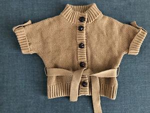 Janie & Jack Cable Sweater Coat Belt Camel Equestrian 3-6 6-9 NWT Cardigan