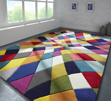Modern Contemporary Geometric Bright MULTI COLOUR Abstract Durable Area Rugs