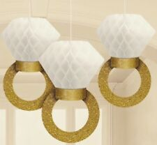 3 Pack Honeycomb Engagment Ring Decorations Gold Glitter And White Honeycomb