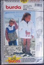 Burda sewing pattern no.2931 Boys & Girls Pants & windcheater sizes 2,3,4,5,6,7