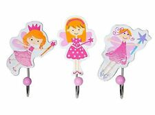 Wooden Fairy Coat Wall Hooks Set Of 3 Girls Bedroom Mousehouse