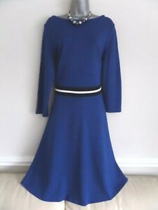 HOBBS GORGEOUS ROYAL BLUE THICK JERSEY A-LINE MIDI DRESS WITH STRIPED WAIST 16