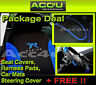 13 Pcs Blue Black Racing Car Seat Covers+Mats+Steering Wheel Cover Package Deal