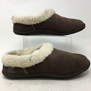 Sorel Nakiska Shearling Mule Slippers Womens 9 Brown Suede Fur Lined NL1474-248