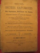 TRES RARE EDITION ANCIENNE 1901 - RECUEIL DE DICTEES EXPLIQUEES  POUR OFFICIERS