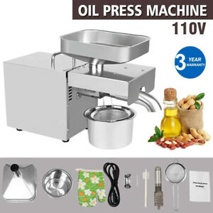 Stainless Steel Commercial Automatic Oil Press Machine Oil Expeller US Plug 110V