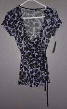 Apt 9, Stretch Short Sleeve Wrap, Light Purple Perplum Top/Blouse Sz Small, NWT