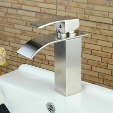 Chrome Waterfall Basin Vessel Sink Faucet Tall Lavatory Wash Mixer Tap Bathroom