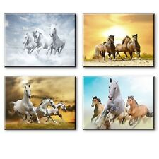 Wall Decor Canvas Art Prints Running Horse Picture Animal Frame Printing 4 Panel