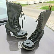 Dr Martens Dee black patent leather boots UK 5 EU 38 heels.