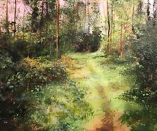 """NUOVO David Aldus originale """"nel bosco selvaggio"""" Foresta Paese rurale dipinto ad olio"""