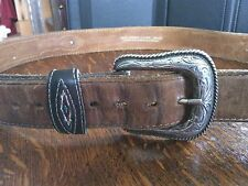Wrangler Belt Genuine Leather Mexico Cowboy Embroidery Silver Detail Buckle Girl