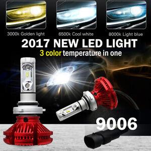 Pair 9006/HB4 100W 12000LM LED Car Headlights kit Bulbs Lights Yellow White Blue